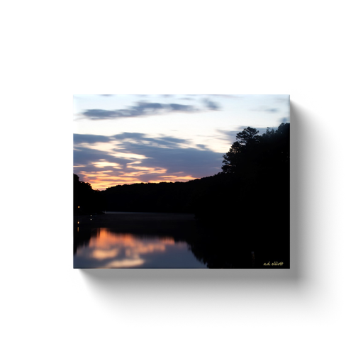A long exposure photograph of Lake Norwood, Bella Vista Arkansas. Taken by the Arkansas photographer a.d. elliott. #TaketheBackRoads  Printed on high quality, artist-grade stock and folded around a lightweight frame to give them a gorgeous, gallery-ready appearance. With acid-free ink that will last without fading or chipping, Features a scratch-resistant UV coating. Wipes clean easily with a damp cloth or to remove dust, vacuum gently using a soft brush attachment.