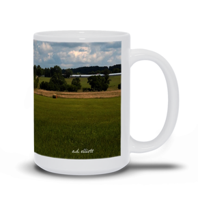 The photograph Hayfield 0719 imprinted on a 15oz coffee mug.  Add a bit of brightness to the morning routine with one of our high quality, dishwasher and microwave safe classic mugs made from quality ceramic with a comfortable handle.