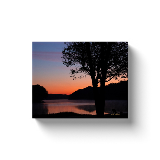 A landscape photograph of Loch Lomond Bella Vista Arkansas taken by the Arkansas photographer a.d. elliott.  Printed on high quality, artist-grade stock and folded around a lightweight frame to give them a gorgeous, gallery-ready appearance. With acid-free ink that will last without fading or chipping, Features a scratch-resistant UV coating. Wipes clean easily with a damp cloth or to remove dust, vacuum gently using a soft brush attachment.