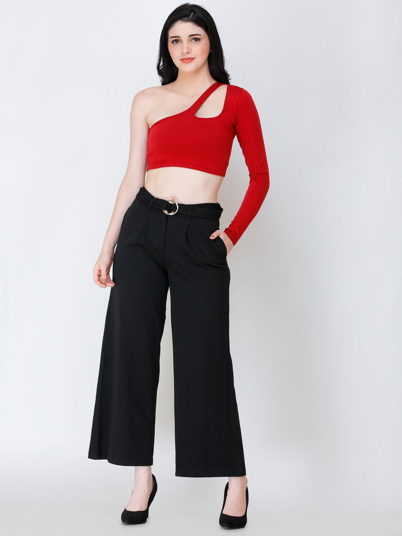 SCORPIUS Maroon one shoulder crop top