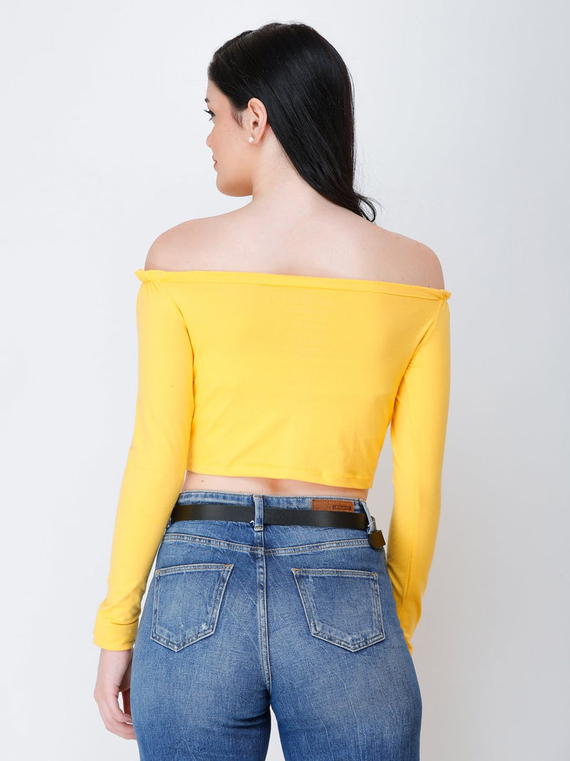 SCORPIUS yellow off shoulder crop top