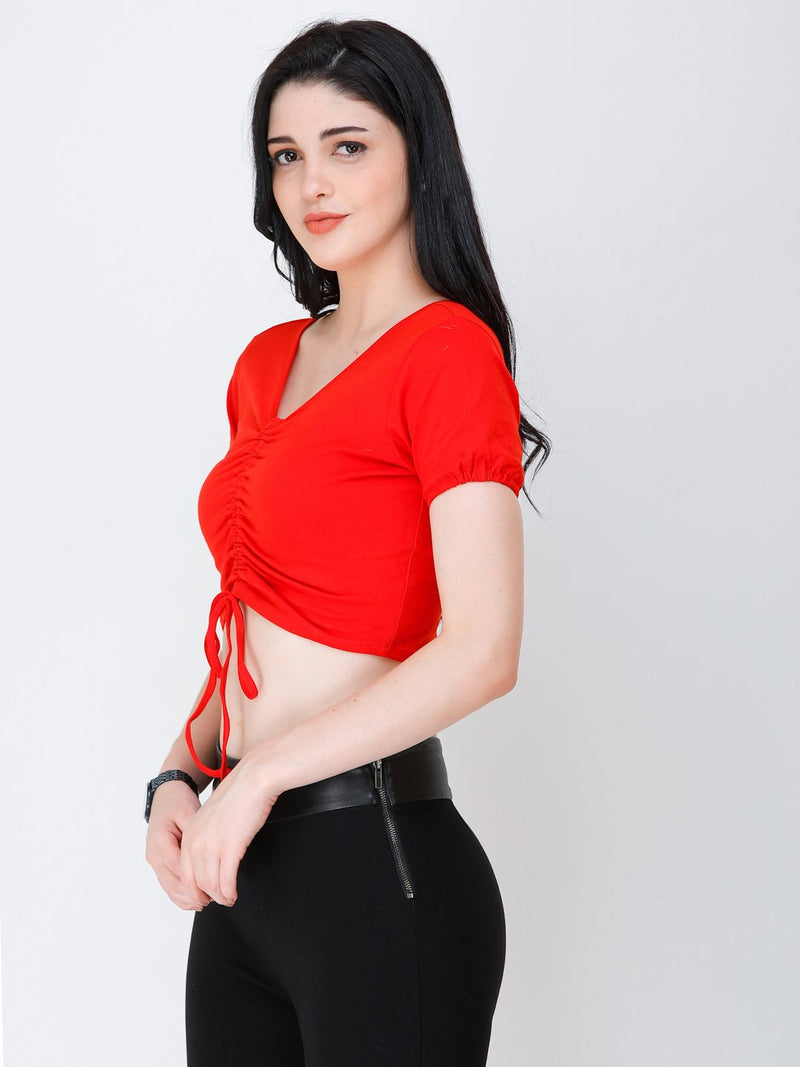 SCORPIUS Red styled front crop top