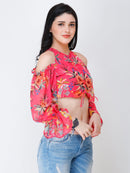 SCORPIUS Pink printed crop top