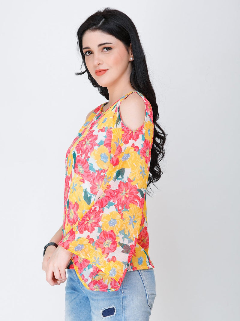 SCORPIUS one shoulder floral top