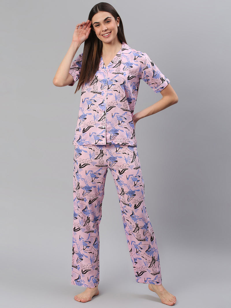 Cation Pink Printed Night Suit
