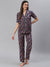 Cation Navy Floral Print Night Suit