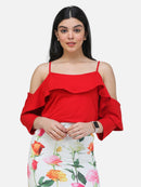 SCORPIUS RED STRAPY CROP TOP