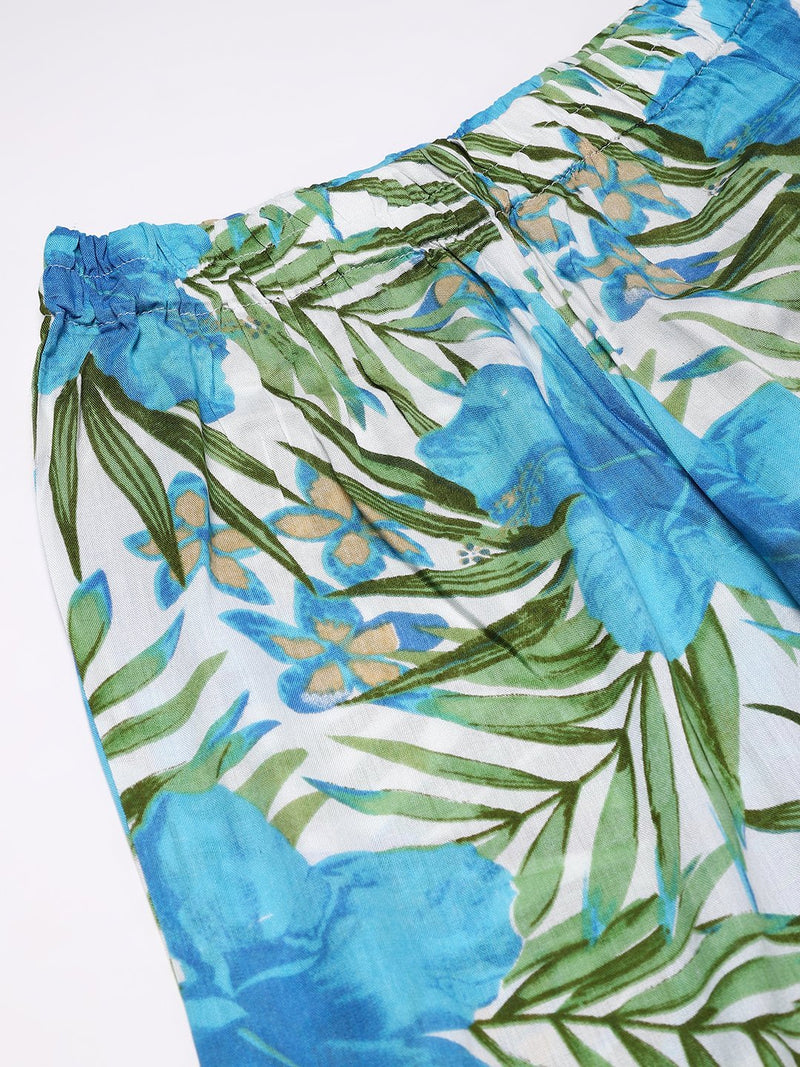 Cation Blue Tropical Print Night Suit