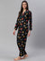 Cation Black Printed Night Suit