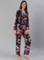 Cation Black Floral Night Suit
