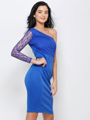 One Shoulder Blue Dress