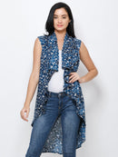 Blue printed shrug