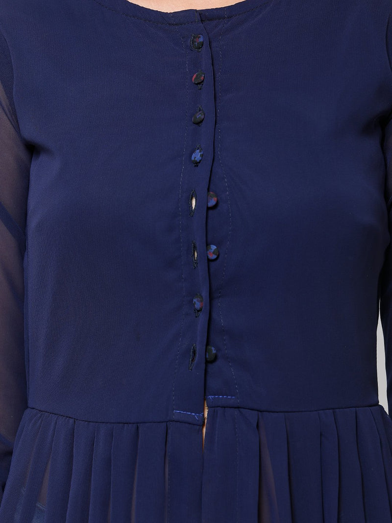 Navy Blue Solid Tunic