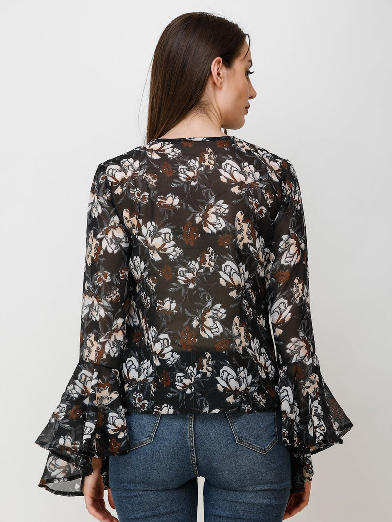 Black Printed Top