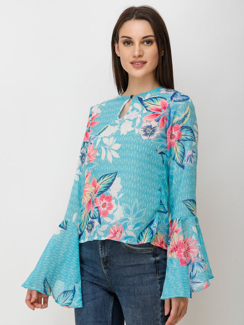 Blue Printed Top