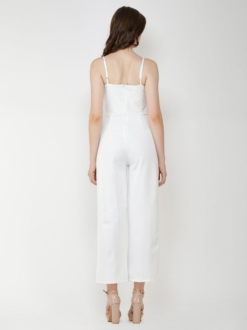 White solid jumpsuit