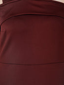 maroon one shoulder dress
