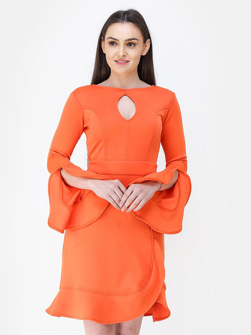Solid Orange Dress
