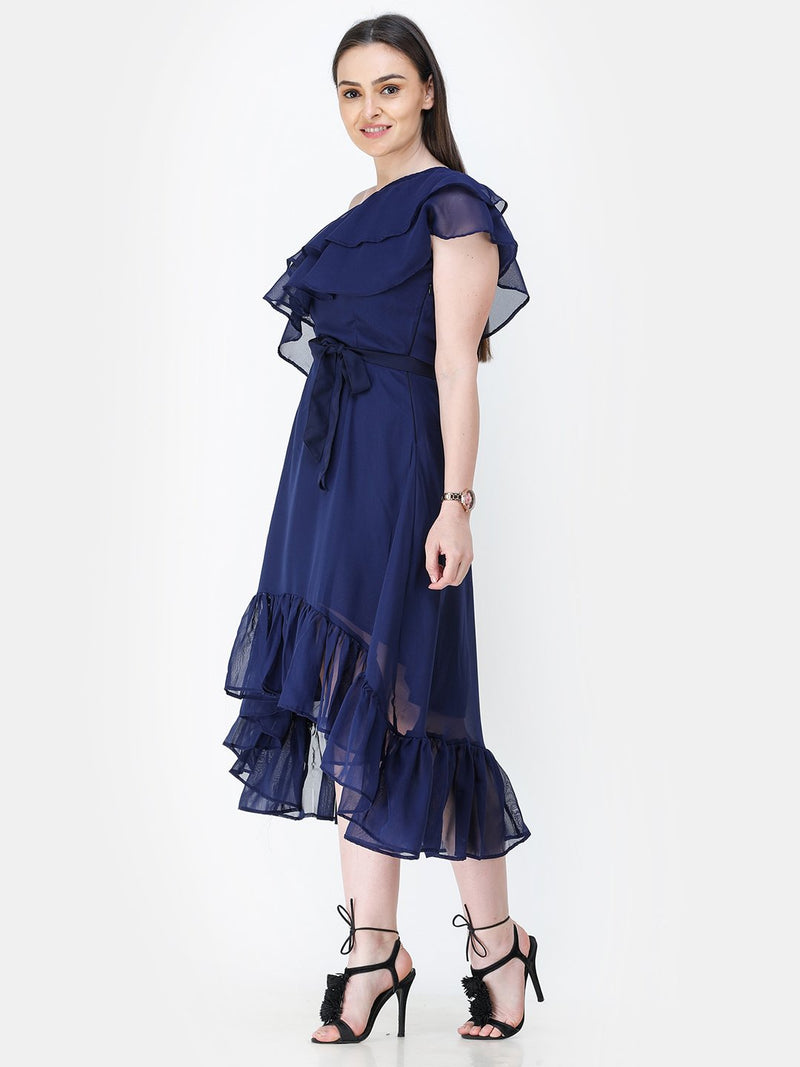 Navy Blue Solid Dress