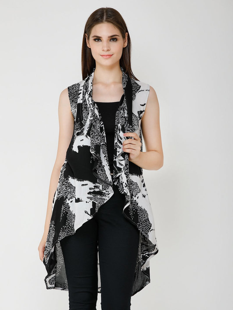 Black and White Printed Shrug