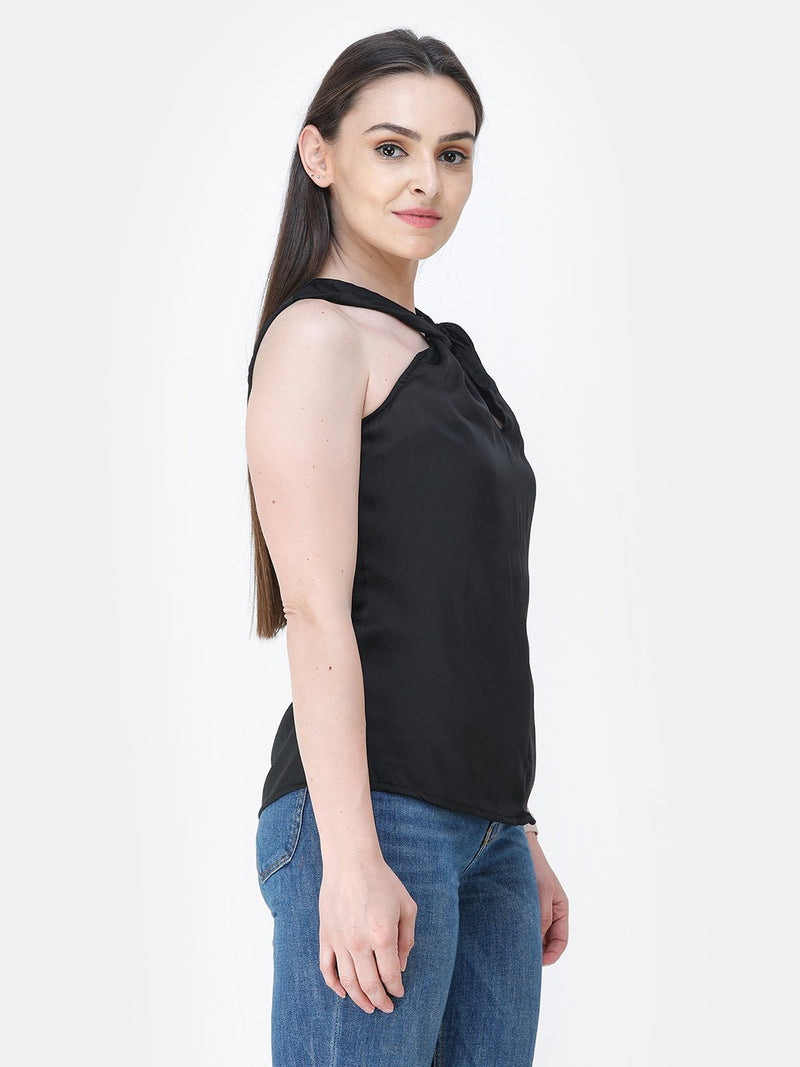 Black Solid Satin Top