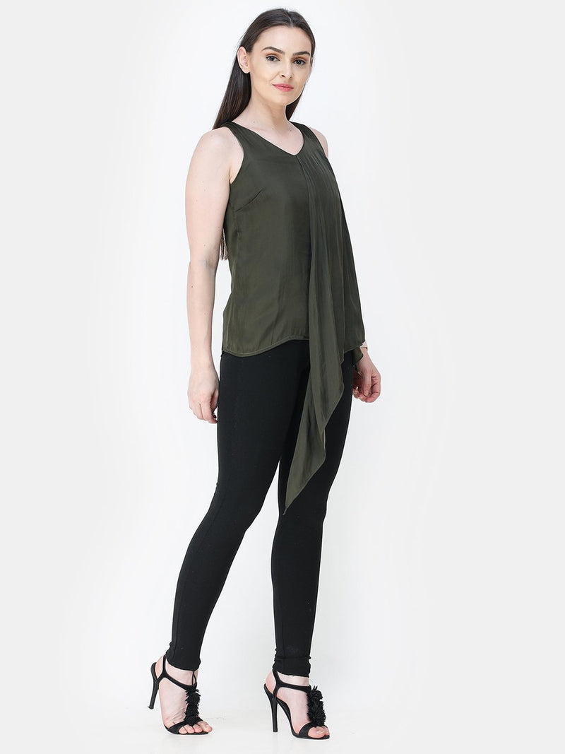 Green Solid Satin Top