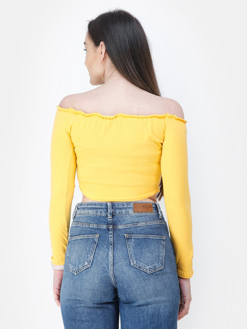 Yellow Solid Crop Top