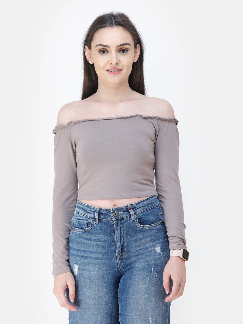Beige Solid Crop Top