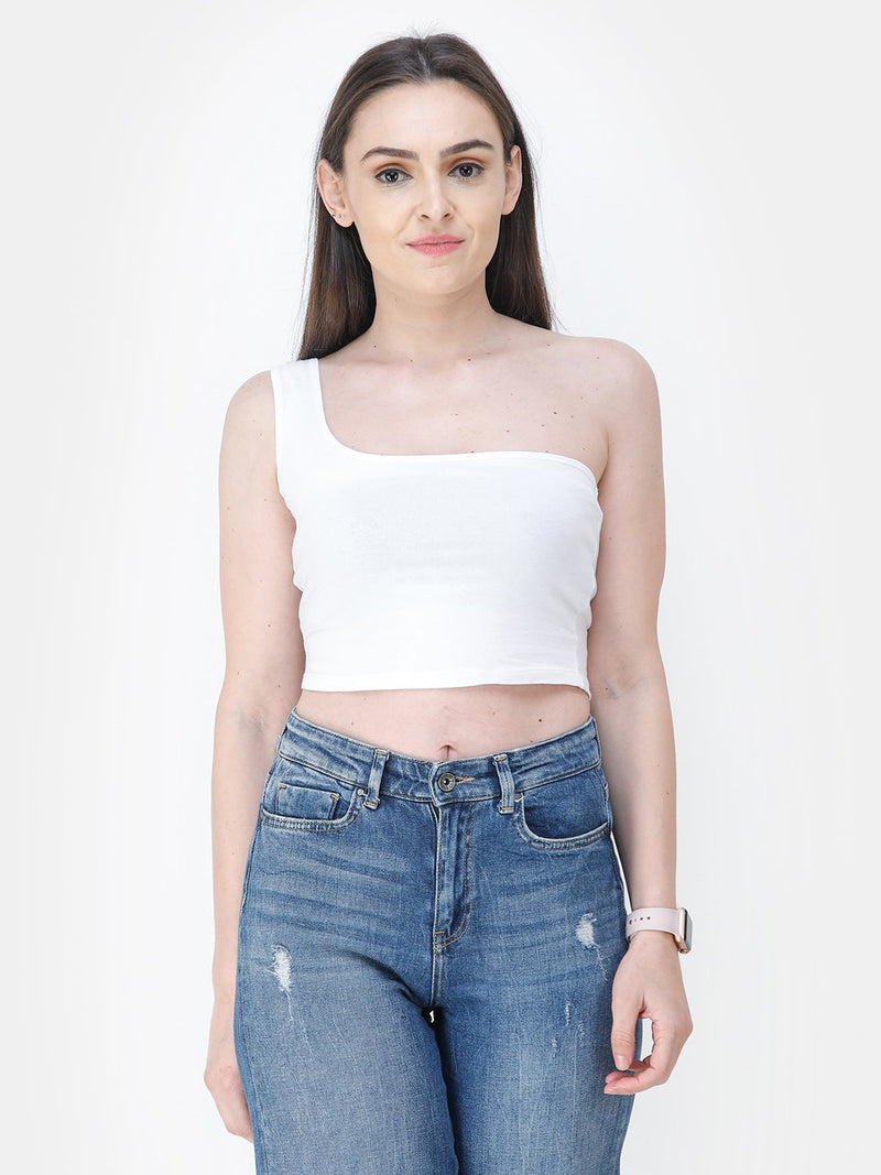 White Solid Crop Top