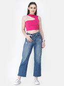 Magenta Solid Crop Top