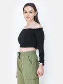 Black Solid Crop Top