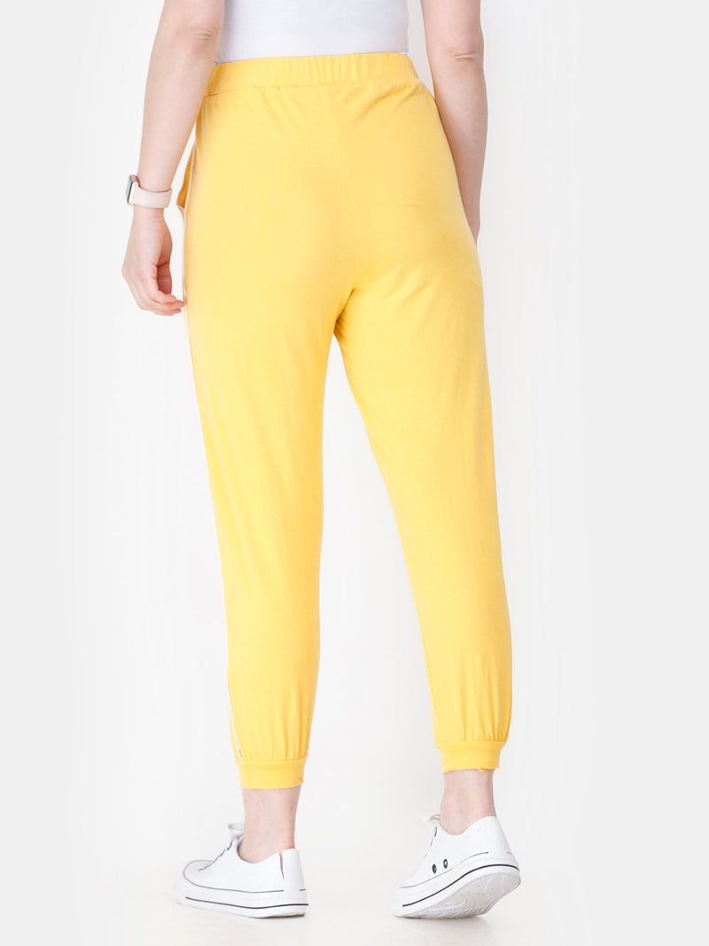 Yellow Solid Track Pants