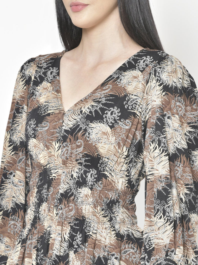 Cation Black Printed Top