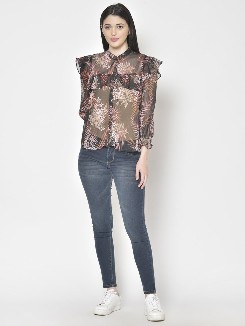 Cation Black Printed Shirt