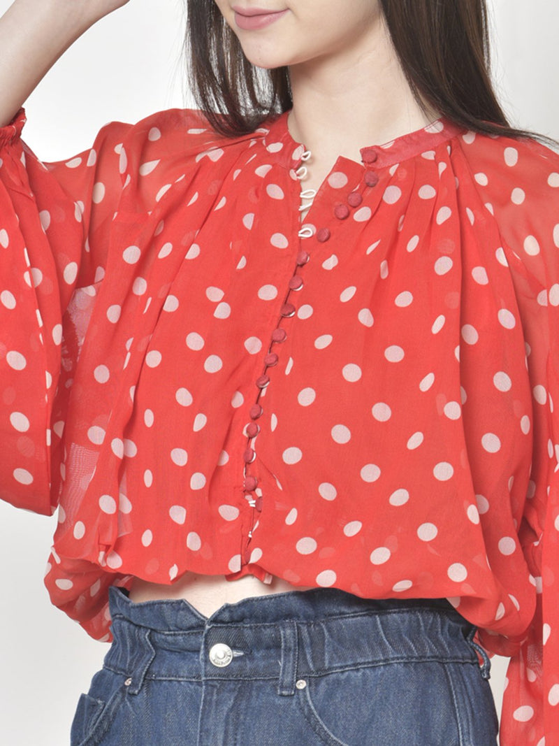 Cation Red Polka Dot Top