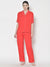 Cation Red Solid Night Suit