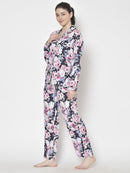 Cation Blue Solid Night Suit & Pink Printed Night Suit