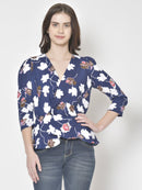 Cation Navy Blue Printed Top