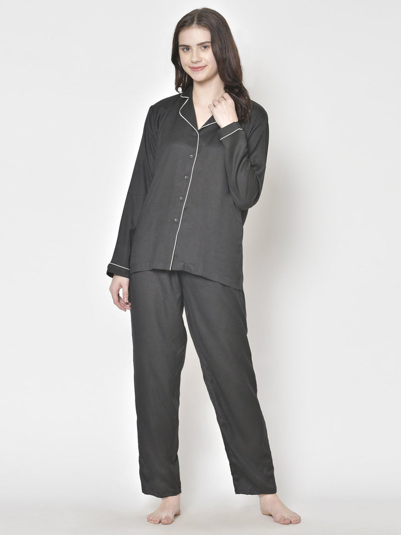 Cation Solid Black Night Suit