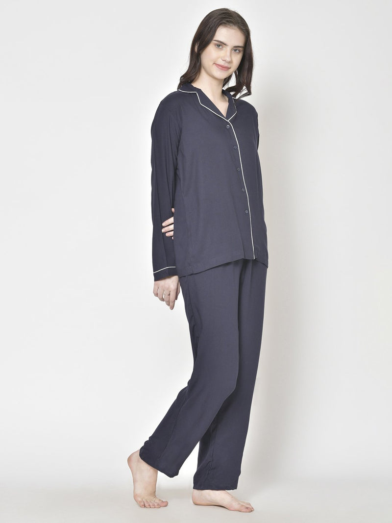 Cation Navy Blue Solid Night Suit