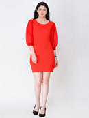 SCORPIUS RED PUFF SLEEVE DRESS