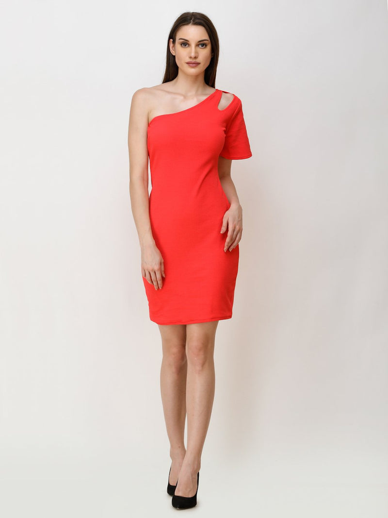 SCORPIUS RED ONE SHOULDER BODYCON DRESS