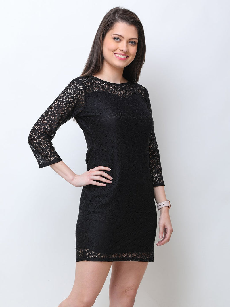 Scorpius black net dress