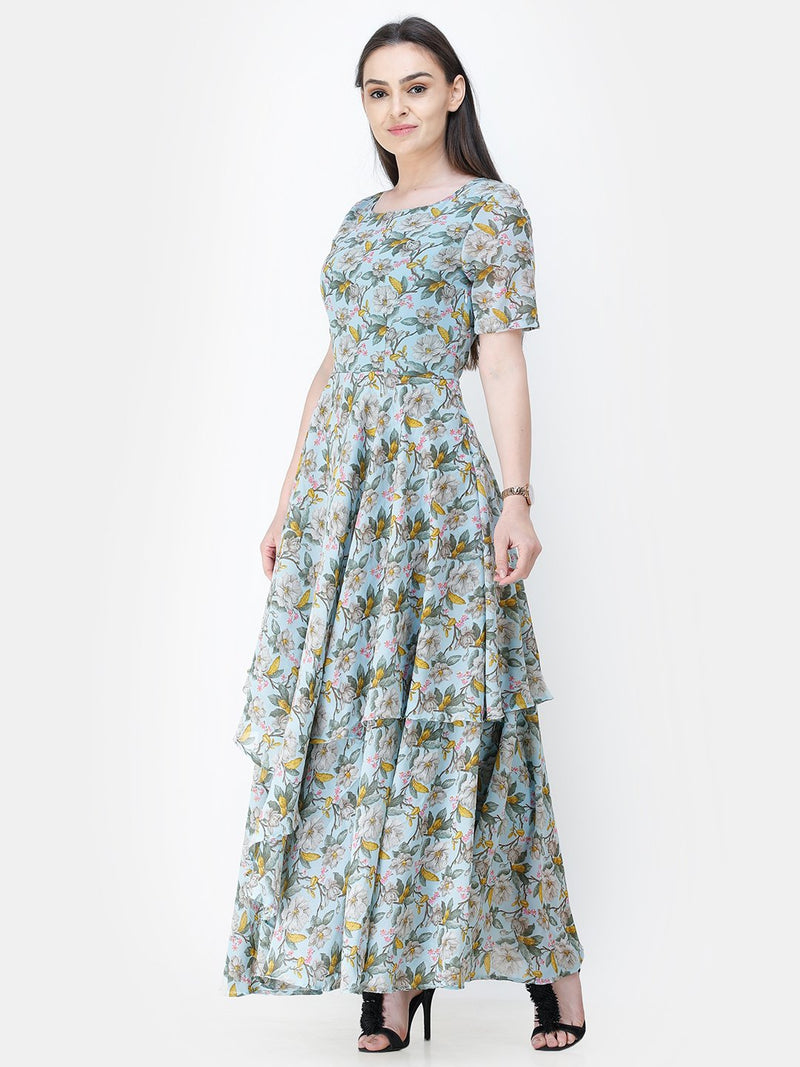 Scorpius light blue floral frilled long dress