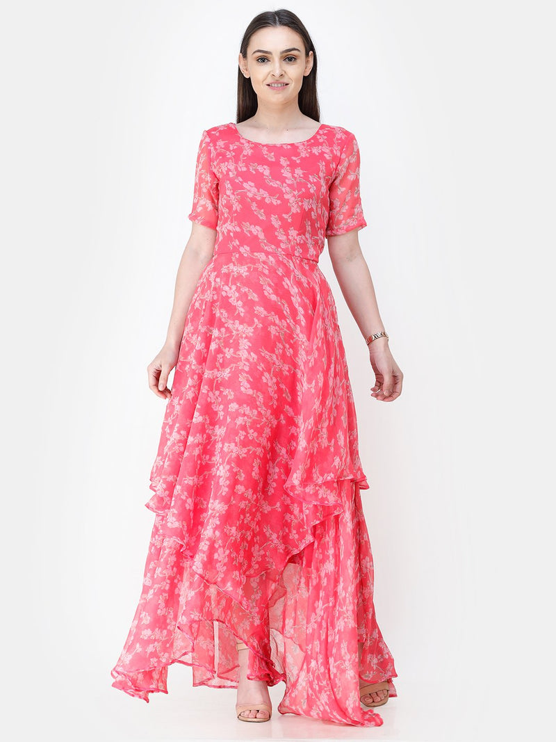 Scorpius pink floral frilled long dress