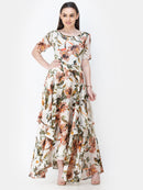 Scorpius off-white floral frilled long dress