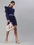 SCORPIUS Navy Solid Power shoulder Bodycon dress