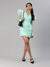 SCORPIUS Green Power shoulder organza dress