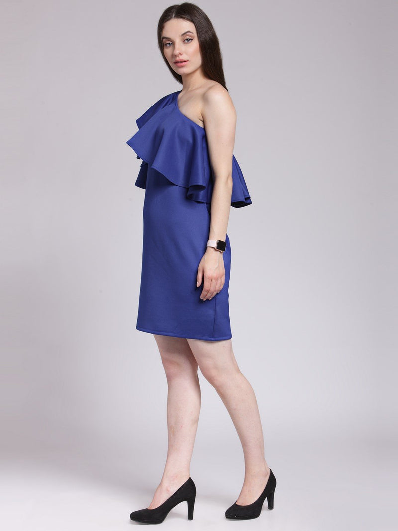 Blue Solid Dress