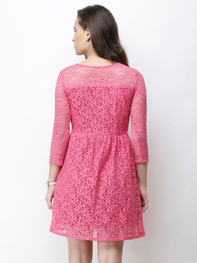 Cation Pink Lace Dress